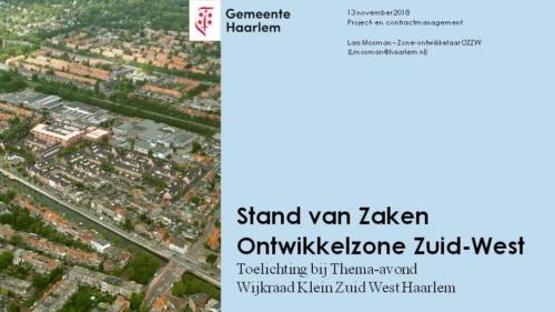 De Spoorzone presentatie van dinsdag 13 november - presentatie Lars Mosman